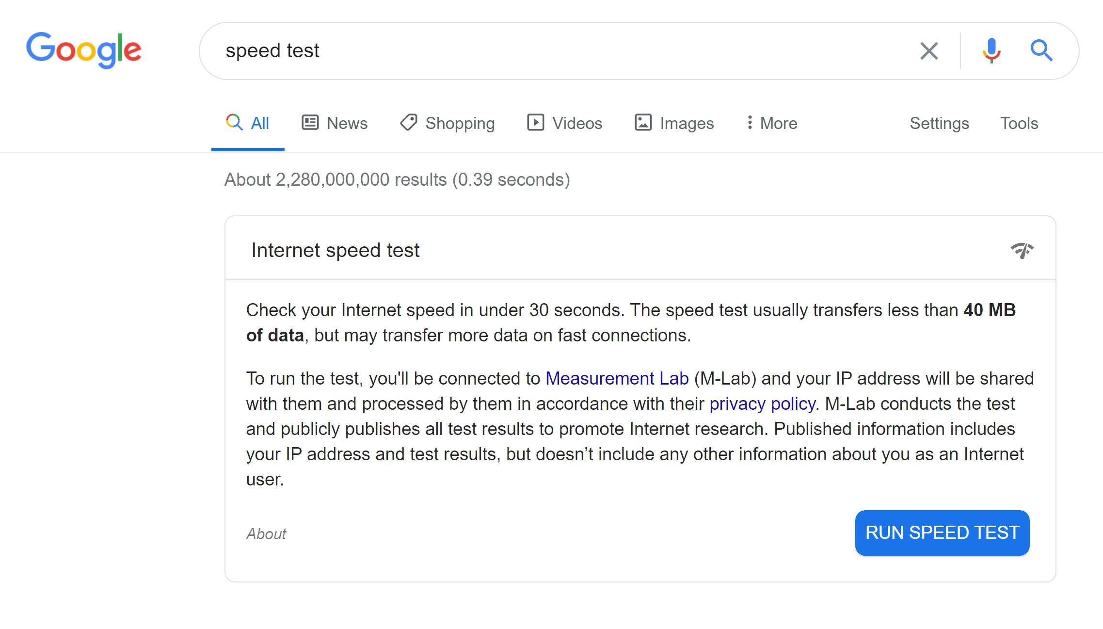 Image showing the google internet speed test